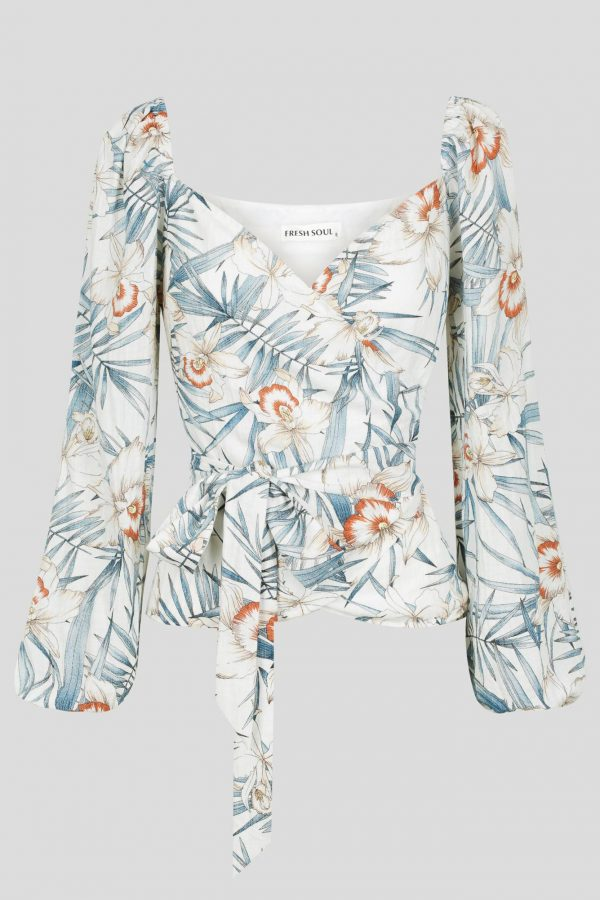 Fortaleza Top Ladies Top Colour is White Floral Print