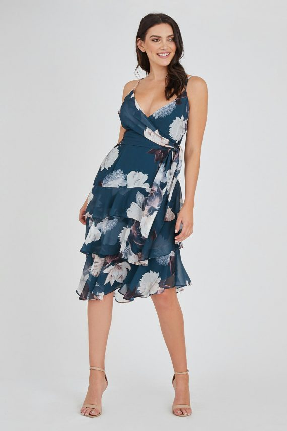 Dahlia Dress Ladies Dress Colour is Teal Peony Print