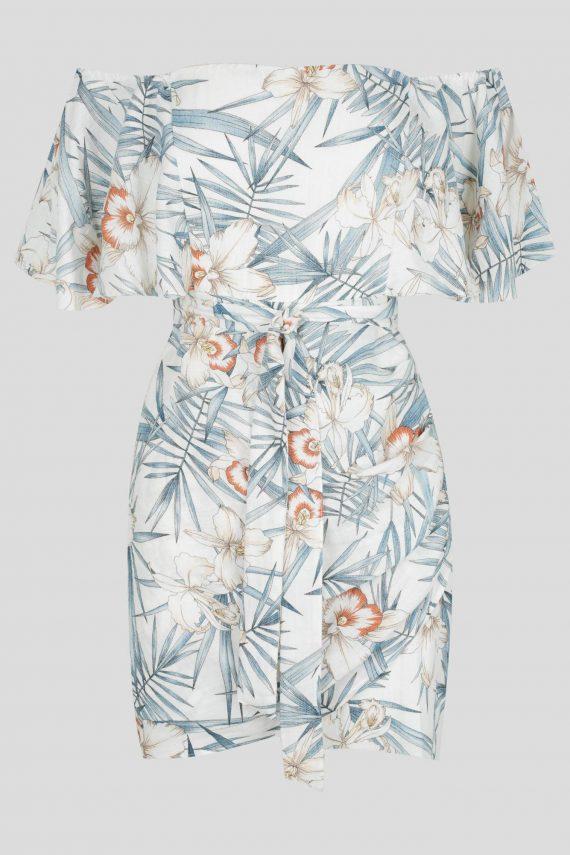 Fortaleza Dress Ladies Dress Colour is White Floral Print