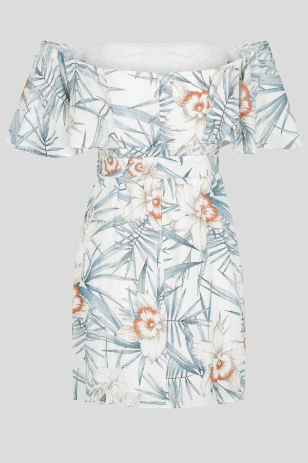 Fortaleza Dress Ladies Dress Colour is White Floral Print