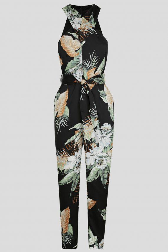 Meadow Jumpsuit Ladies Jumpsuit Colour is Black Leaf Print