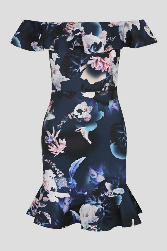 Magic Ruffle Dress Ladies Dress Colour is Spellbound Navy Prin