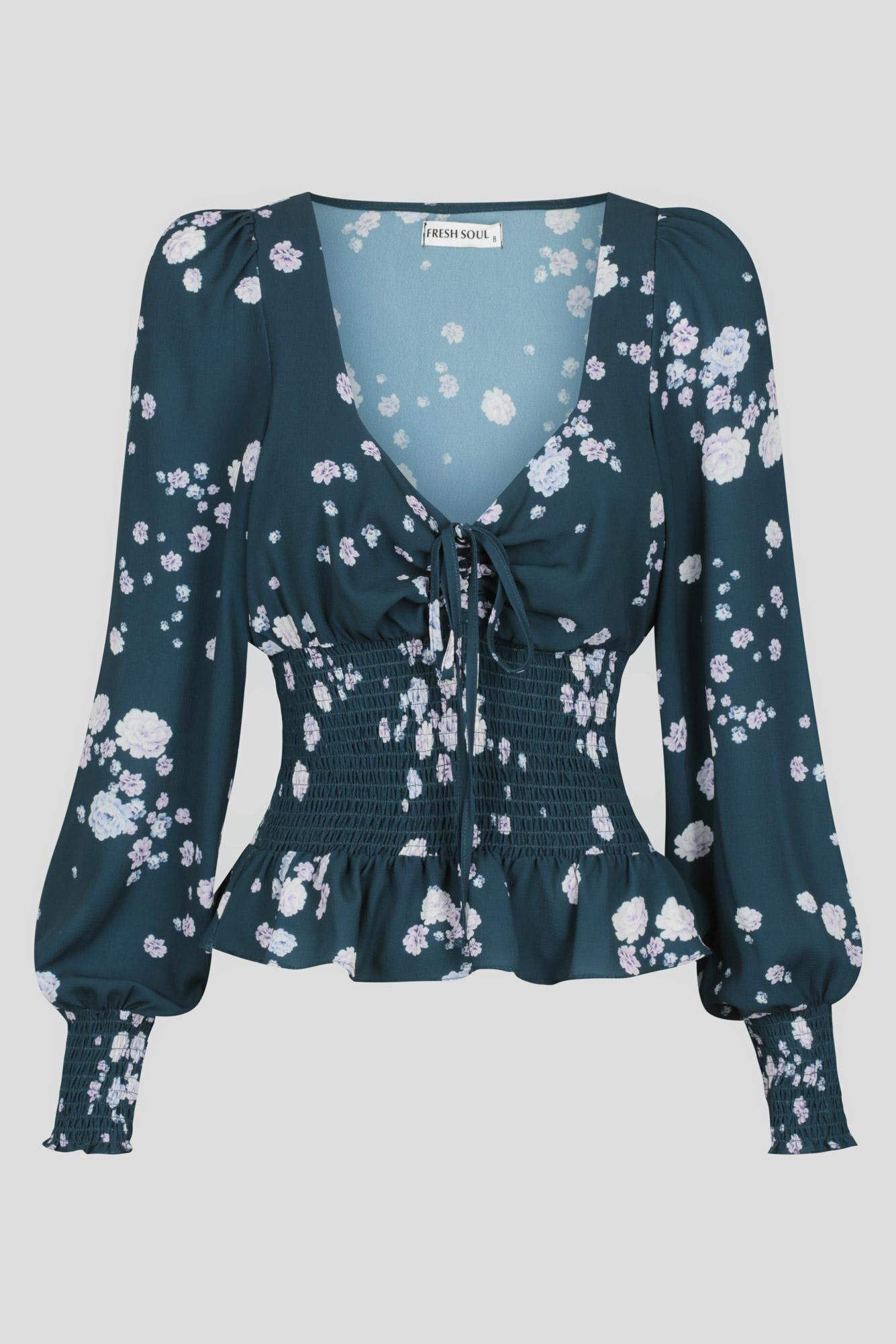 Sarchelle Top Ladies Top Colour is Teal Ditsy Print