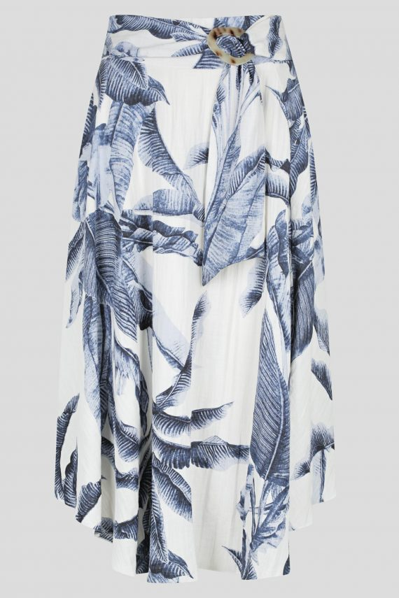 Amazona Skirt Ladies Skirt Colour is Blue Palm Print