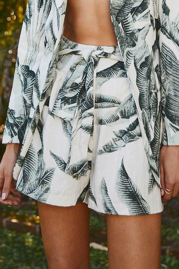 Palma Short Ladies Shorts Colour is Green Palm Print