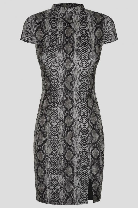 Forever Dress Ladies Dress Colour is Grey Snake Print