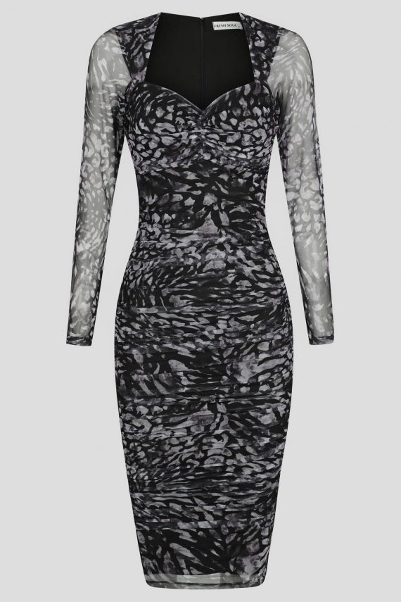 Attraction Midi Dress Ladies Dress Colour is Mocha Animal Print