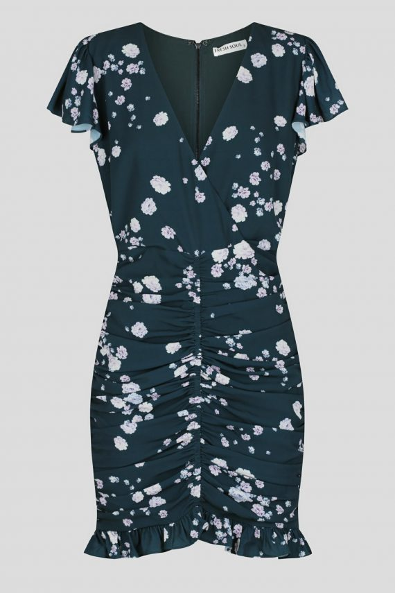 Sarchelle Dress Ladies Dress Colour is Teal Ditsy Print