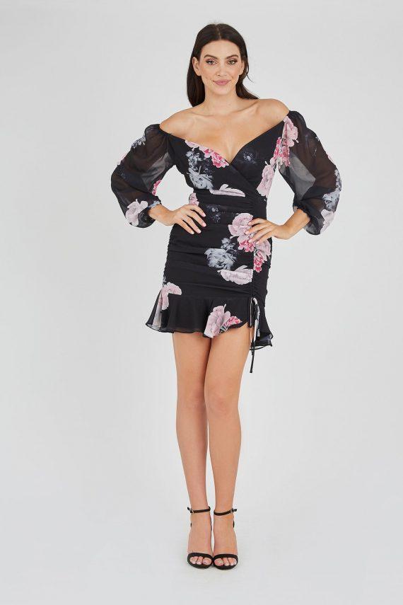Mirage Ruffle Dress Ladies Dress Colour is Midnight Garden Prin