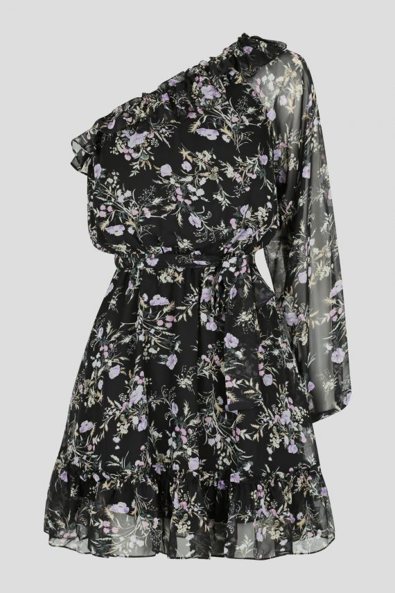 Violet Dress Ladies Dress Colour is Black Floral Print