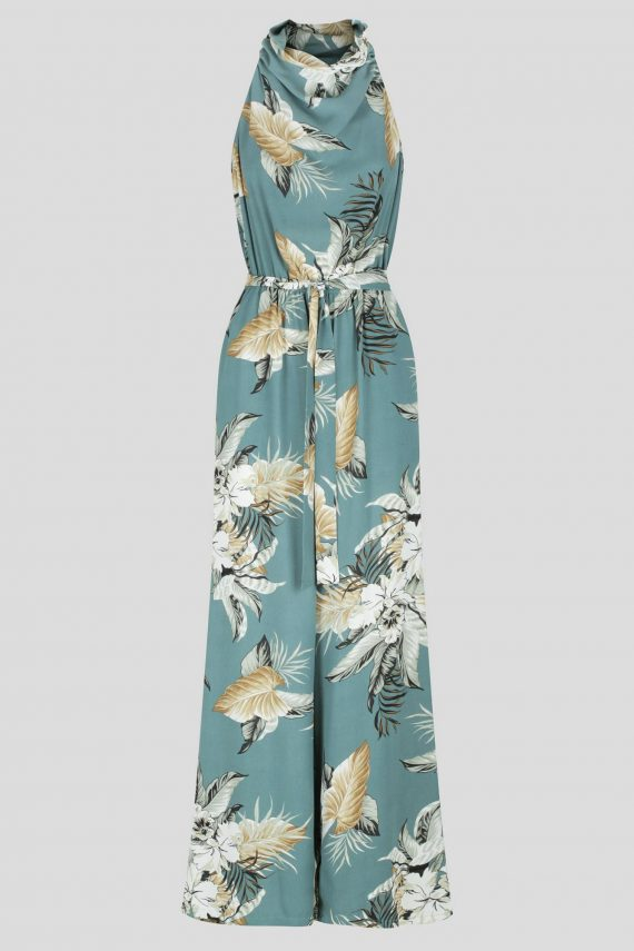 Marta Jumpsuit Ladies Jumpsuit Colour is Sage Tropical Print