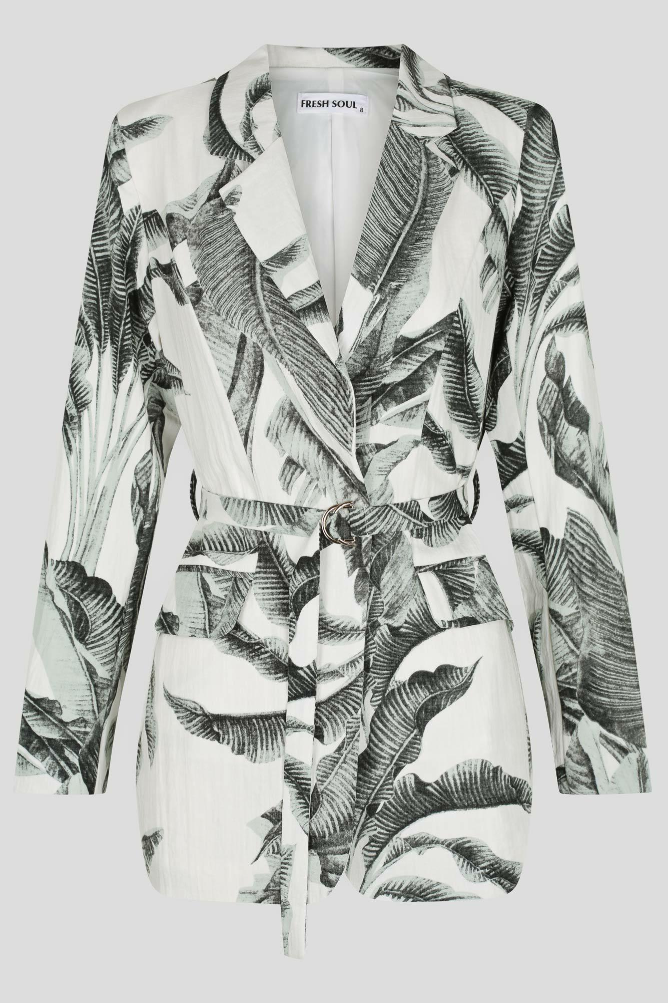 Palma Jacket Ladies Jacket Colour is Green Palm Print