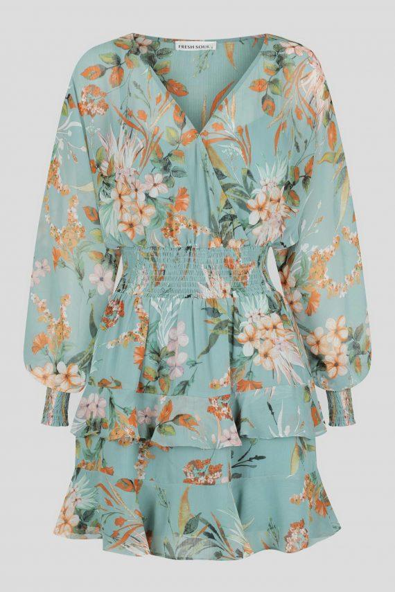 Luciara Dress Ladies Dress Colour is Blue Floral Print
