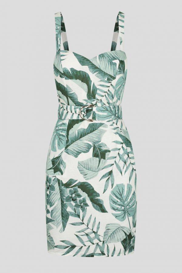 Paraiba Dress Ladies Dress Colour is Beige Palm Print