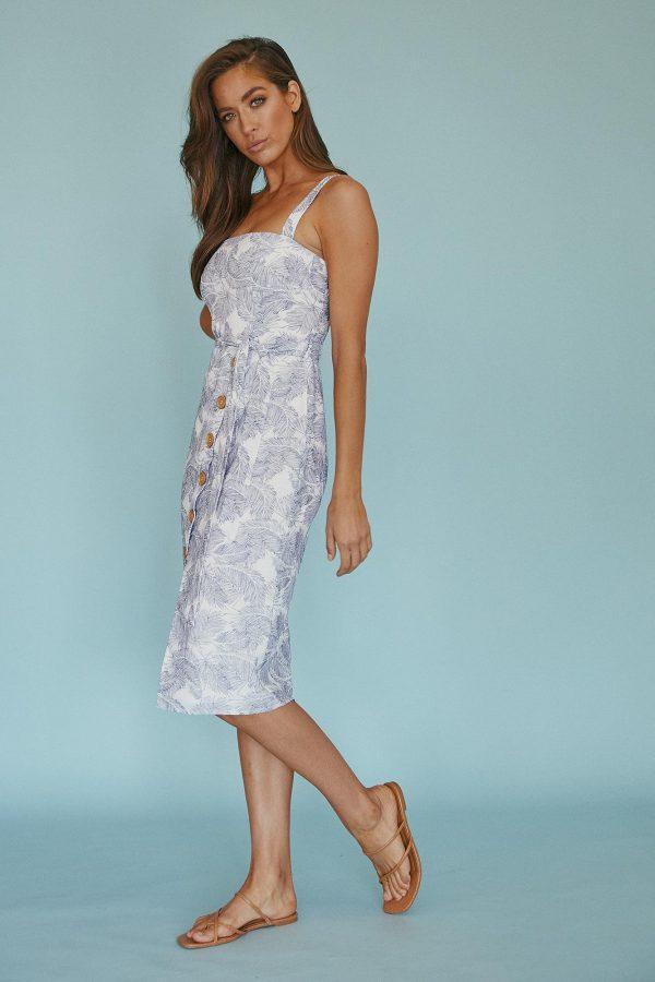 Sereno Dress Ladies Dress Colour is White Palm Print