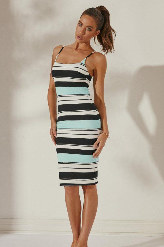 Alamedia Dress Ladies Dress Colour is Mint Sripe