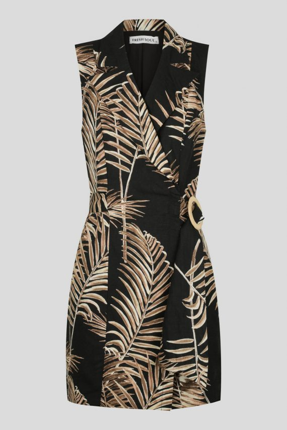 Santiago Dress Ladies Dress Colour is Black Palm Print