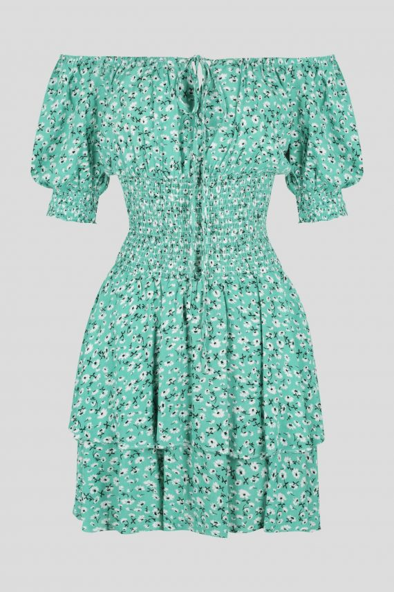 Artesia Dress Ladies Dress Colour is Green Ditsy Print