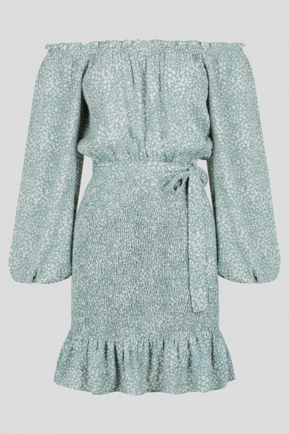 Promenade Dress Ladies Dress Colour is Green Ditsy Print