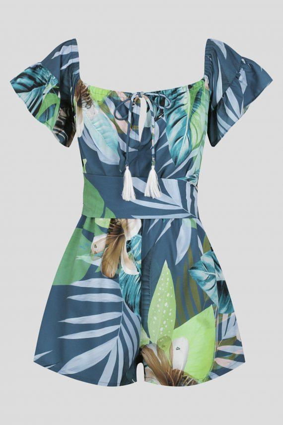 Botanical Playsuit Ladies Jumpsuit Colour is Sapphire Forrest Pri