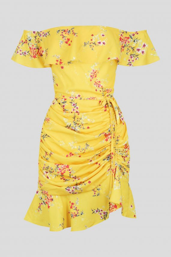 Canary Dress Ladies Dress Colour is Canary Floral Print