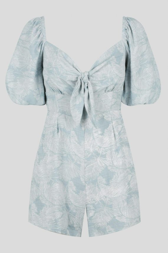 Maricopa Playsuit Ladies Jumpsuit Colour is Sage Palm Print