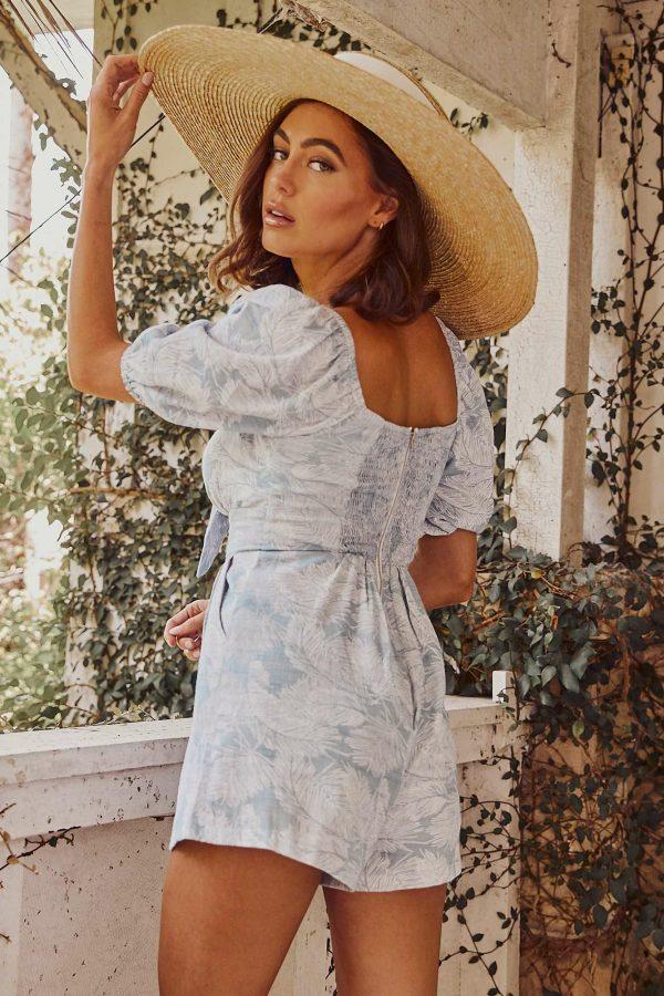 Maricopa Playsuit Ladies Jumpsuit Colour is Sage Palm Print