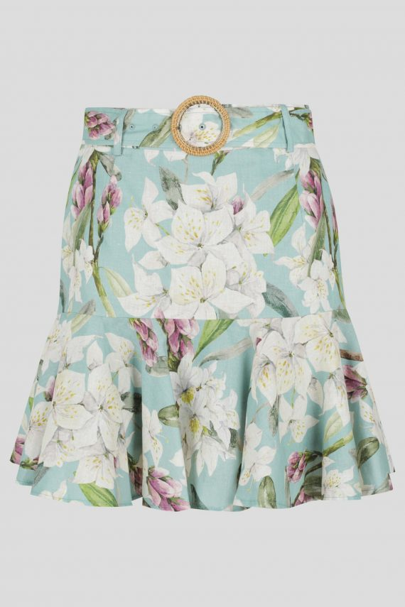 Selma Skirt Ladies Skirt Colour is Aqua Floral Print