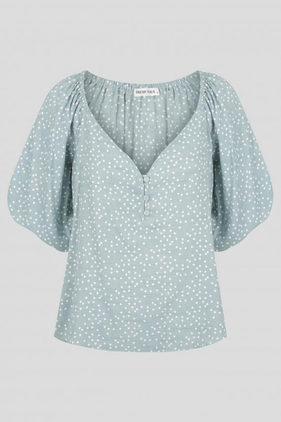 Quinta Top Ladies Top Colour is Blue Spot