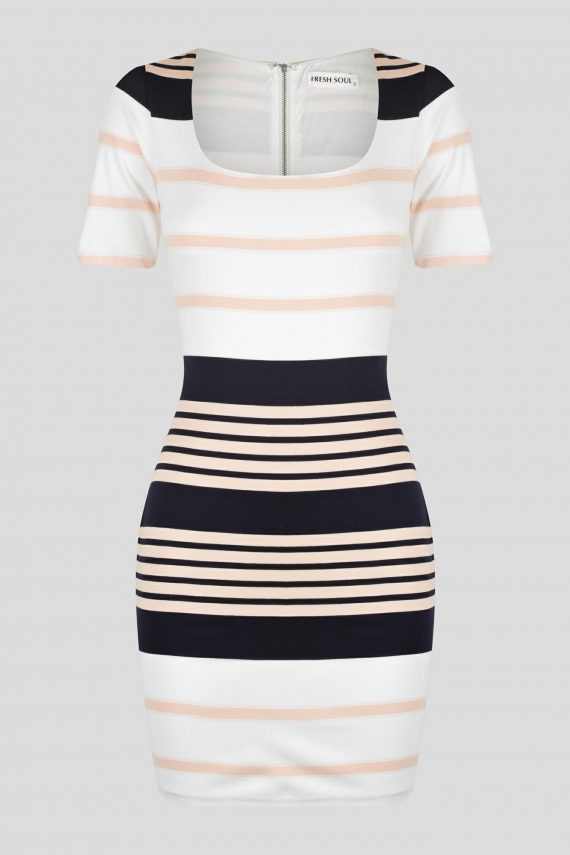 Mortero Dress Ladies Dress Colour is Pink/navy Stripe