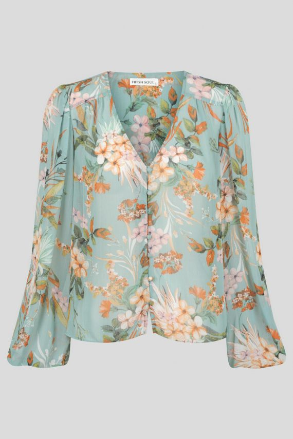 Luciara Top Ladies Top Colour is Blue Floral Print