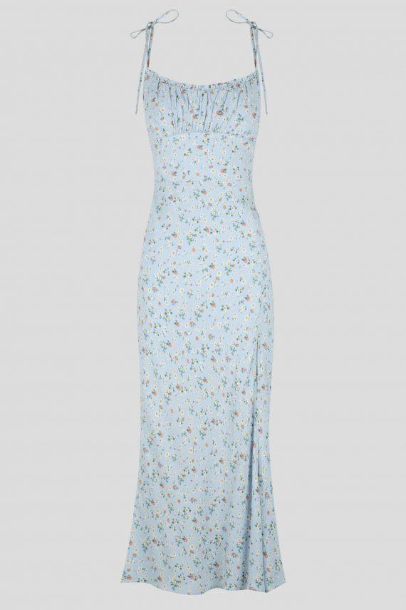 Tierra Dress Ladies Dress Colour is Blue Ditsy Print