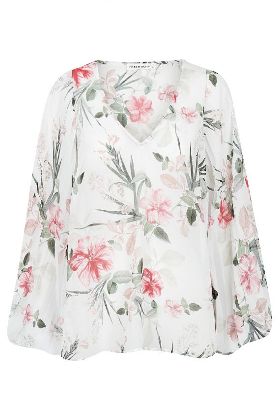 Heaven Top Ladies Top Colour is White Eden Print