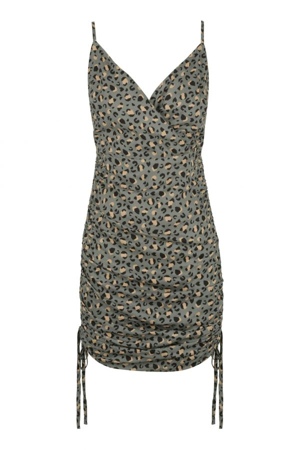 Macero Dress Ladies Dress Colour is Khaki Leopard Print