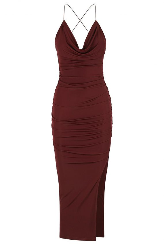 Copacabana Dress Ladies Dress Colour is Burgandy