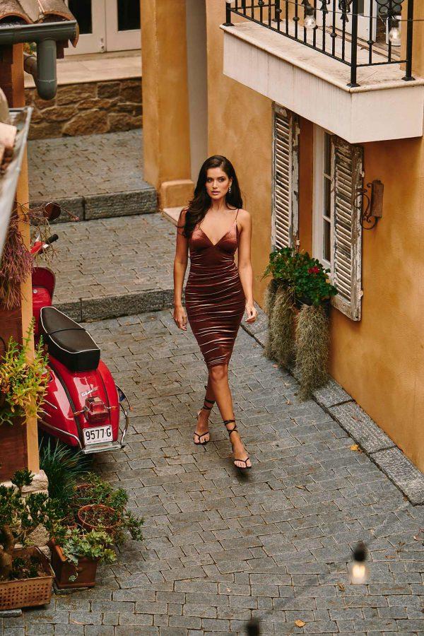 Spy Dress Ladies Dress Colour is Copper
