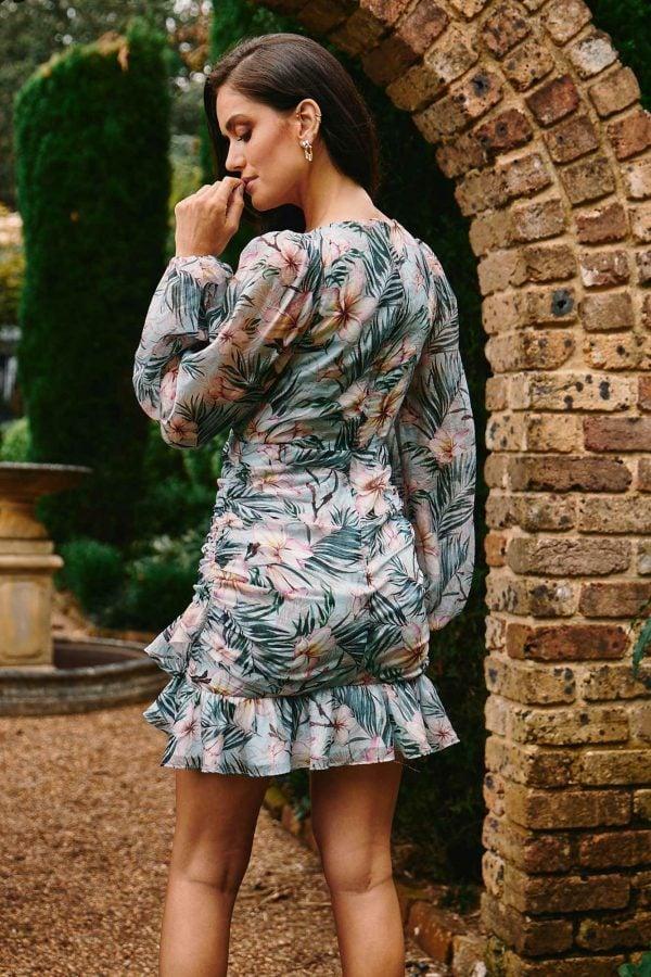 Sense Dress Ladies Dress Colour is Aqua Floral Print