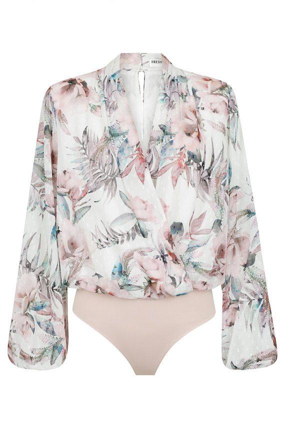 Rosa Bodysuit Ladies Top Colour is Floral Blush Print
