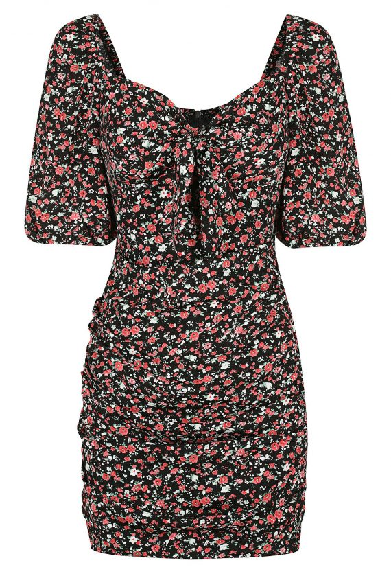 Winter Cherry Dress Ladies Dress Colour is Black Floral Print