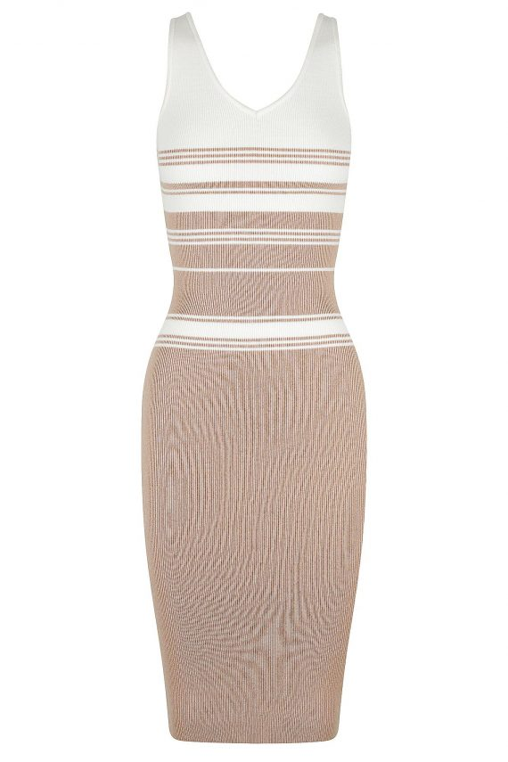 Madras Knit Dress Ladies Dress Colour is Nude Stripe