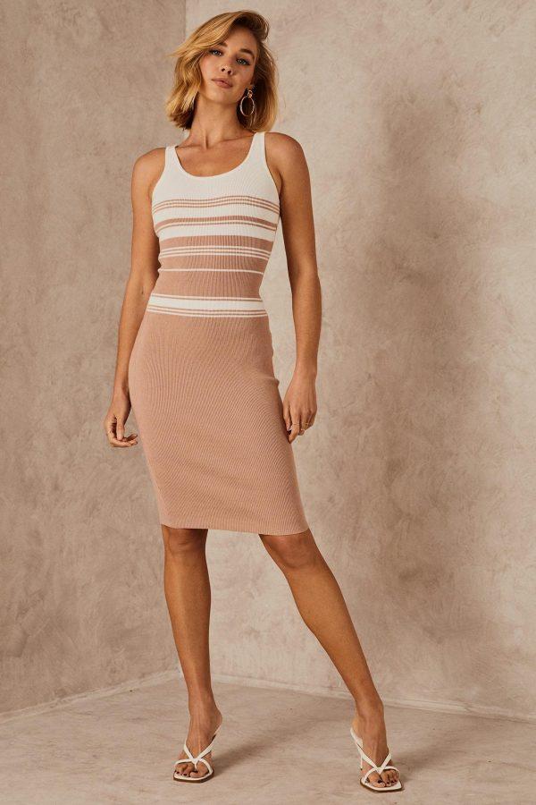 Madras Knit Dress Ladies Dress Colour is Nude Stripe