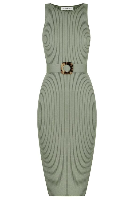 Mancora Knit Dress Ladies Dress Colour is Khaki