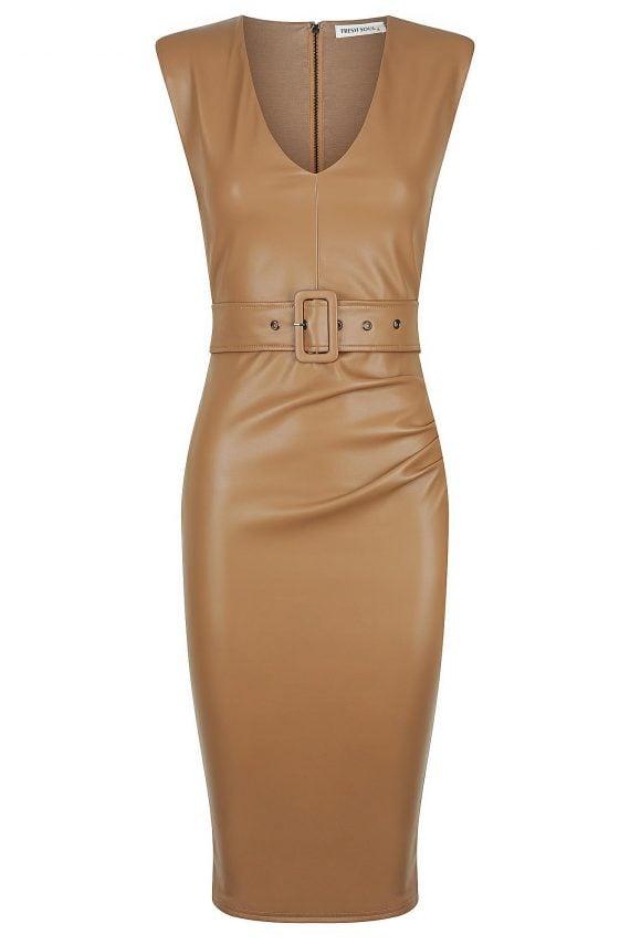 Manor Dress Ladies Dress Colour is Camel