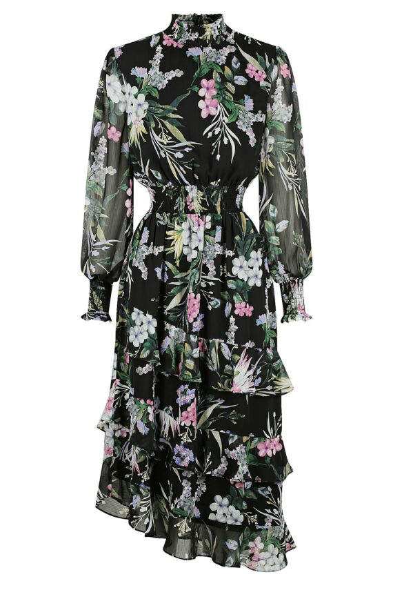 Alice Dress Ladies Dress Colour is Black Floral Print
