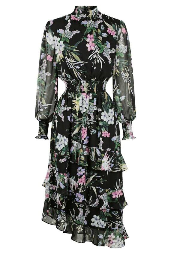 Alice Dress Ladies Dress Colour is Black Floral Print