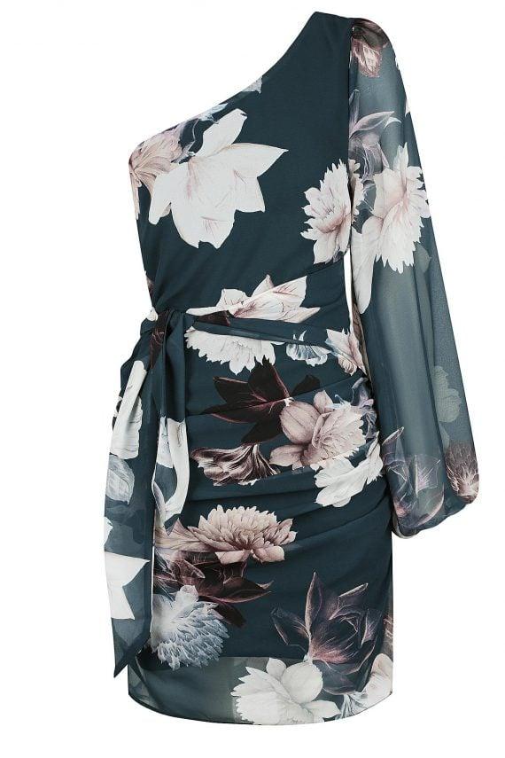 Dahlia Tie Dress Ladies Dress Colour is Teal Peony Print